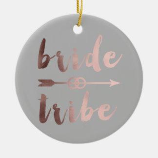 elegant rose gold bride tribe arrow wedding rings christmas ornament