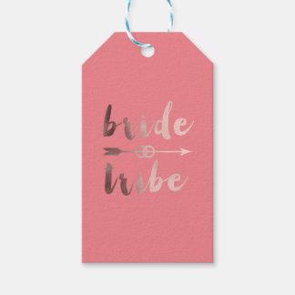 elegant rose gold bride tribe arrow wedding rings gift tags