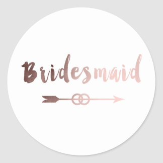 elegant rose gold bridesmaid arrow wedding ring classic round sticker