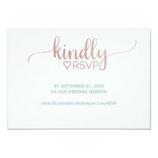 Elegant Rose Gold Calligraphy Wedding Website RSVP Card