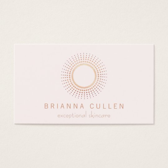 Elegant Rose Gold Circle Aesthetician White Business Card