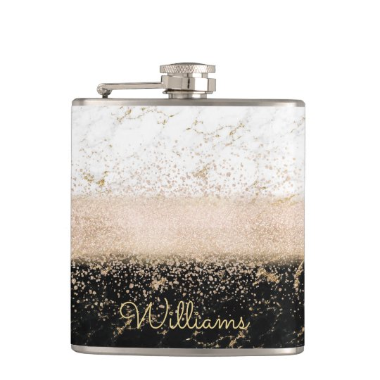 Elegant rose gold confetti marble design hip flask