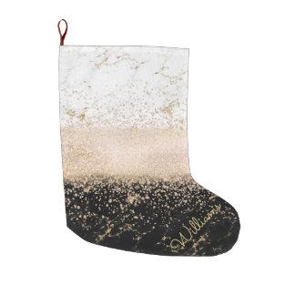 Elegant rose gold confetti marble design large christmas stocking