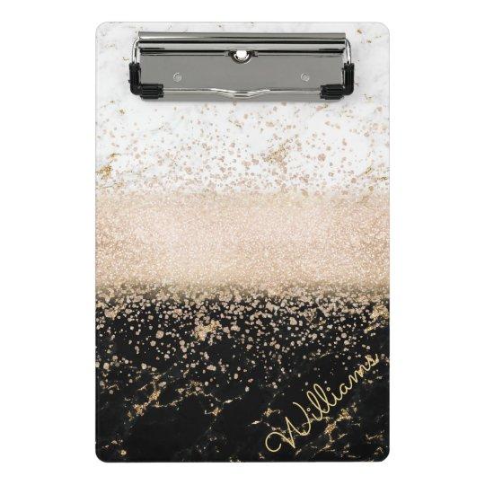 Elegant rose gold confetti marble design mini clipboard