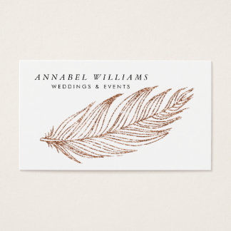 Elegant Rose Gold Faux Glitter Feather Business Card