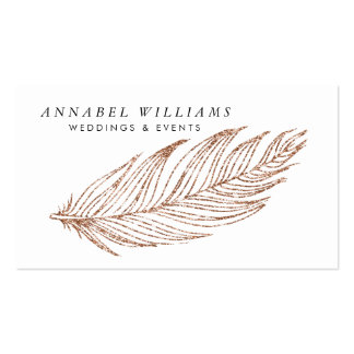 Elegant Rose Gold Faux Glitter Feather Pack Of Standard Business Cards