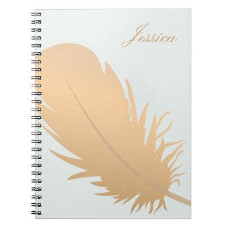 Elegant Rose Gold Feather Art Personalized Notebook