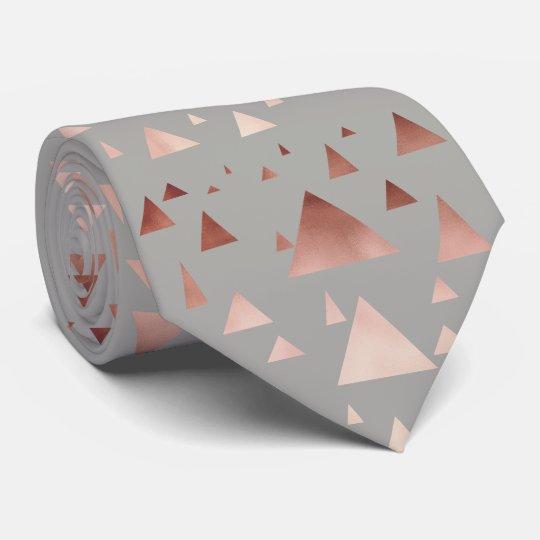 elegant rose gold foil geometric triangles tie