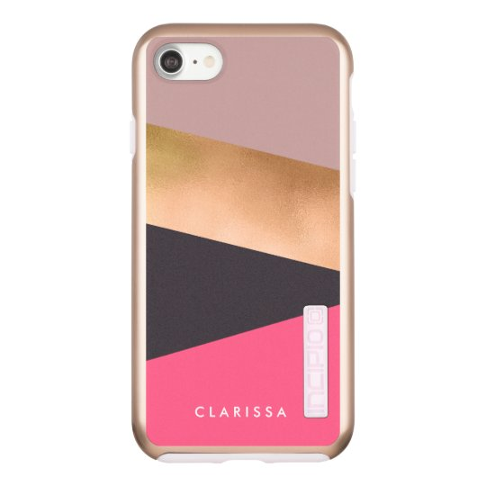 elegant rose gold foil pink grey colour block