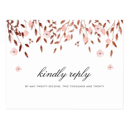 Elegant Rose Gold Glitter | Floral Wedding RSVP
