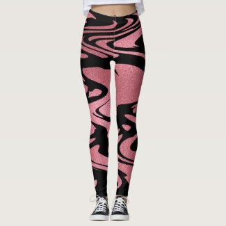 Elegant Rose Gold Glitter Paint Pattern on Black Leggings