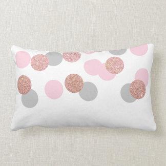 elegant rose gold glitter pastel pink confetti lumbar cushion