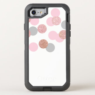elegant rose gold glitter pastel pink confetti OtterBox defender iPhone 7 case