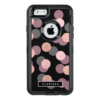 elegant rose gold glitter pastel pink confetti OtterBox defender iPhone case