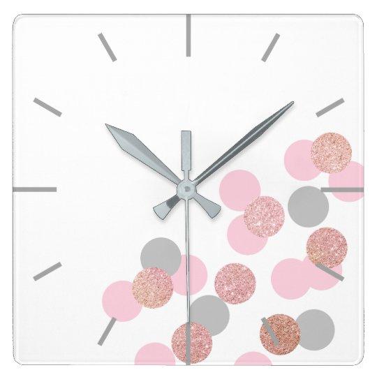 elegant rose gold glitter pastel pink confetti square