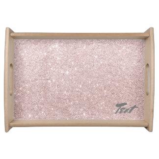 elegant rose gold glitter serving tray