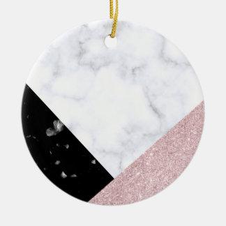 Elegant rose gold glitter white black marble christmas ornament