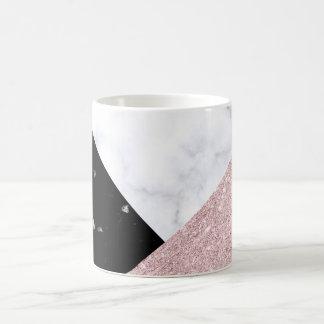 Elegant rose gold glitter white black marble coffee mug