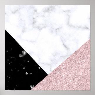 Elegant rose gold glitter white black marble poster