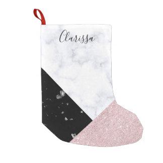 Elegant rose gold glitter white black marble small christmas stocking