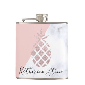 Elegant rose gold glitter white marble blush pink hip flask