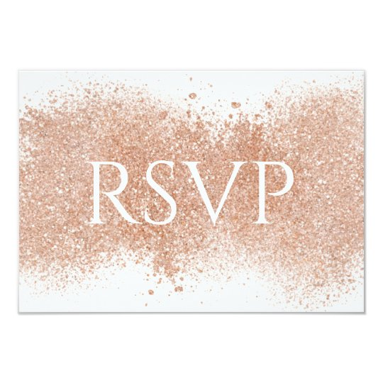 Elegant Rose Gold Glittery RSVP Wedding Card