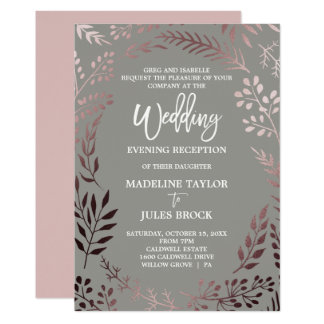 Elegant Rose Gold & Gray Wedding Evening Reception Card