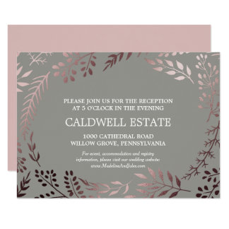 Elegant Rose Gold & Gray Wedding Reception Insert Card