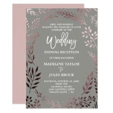 Elegant Rose Gold & Grey Wedding Evening Reception Card