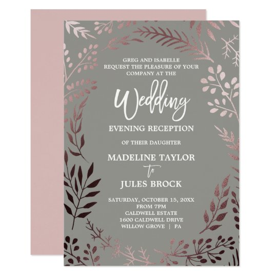 Elegant Rose Gold & Grey Wedding Evening Reception