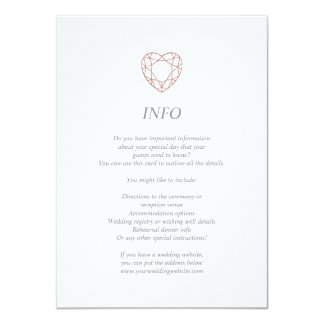 Elegant rose gold heart info/details card