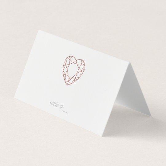 Elegant rose gold heart place cards - folded