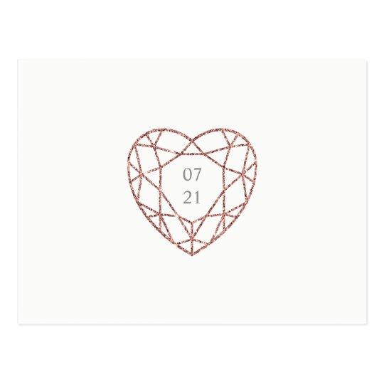 Elegant rose gold heart save the date postcard