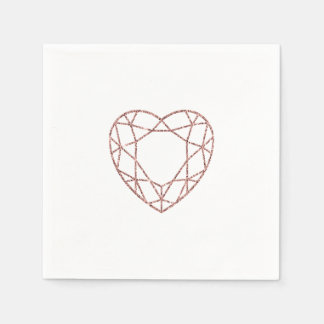 Elegant rose gold heart wedding napkins paper serviettes