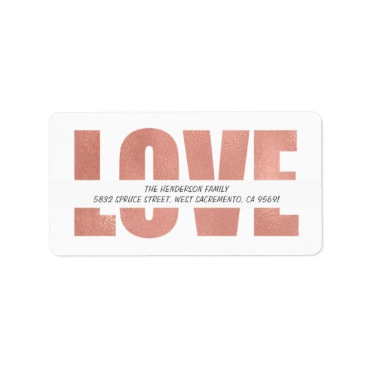 Elegant Rose Gold Holiday Greetings | Love Address Label
