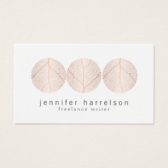 Elegant Rose Gold Leaf Trio Logo on White