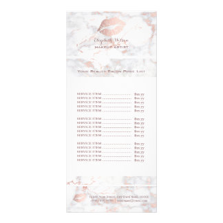 elegant rose gold lips on pink marble price list rack card