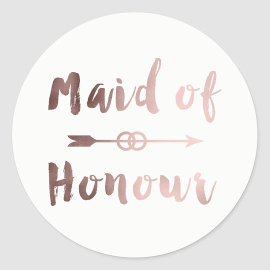 elegant rose gold maid of honour arrow wedding