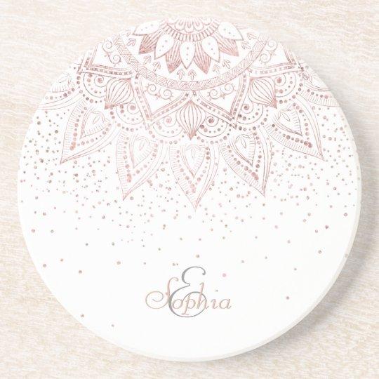 Elegant rose gold mandala confetti design coaster