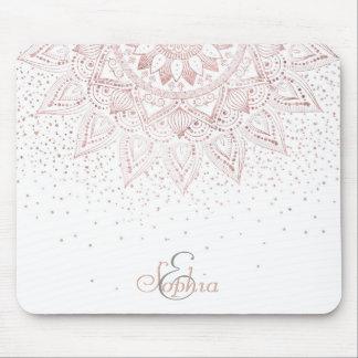 Elegant rose gold mandala confetti design mouse mat