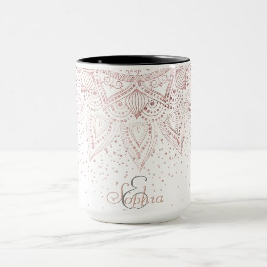 Elegant rose gold mandala confetti design mug