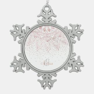 Elegant rose gold mandala confetti design snowflake pewter christmas ornament
