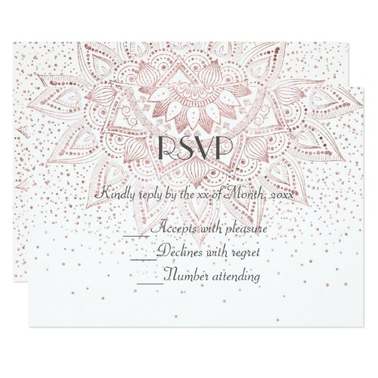 Elegant rose gold mandala confetti wedding collect card