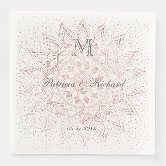 Elegant rose gold mandala confetti wedding paper napkins