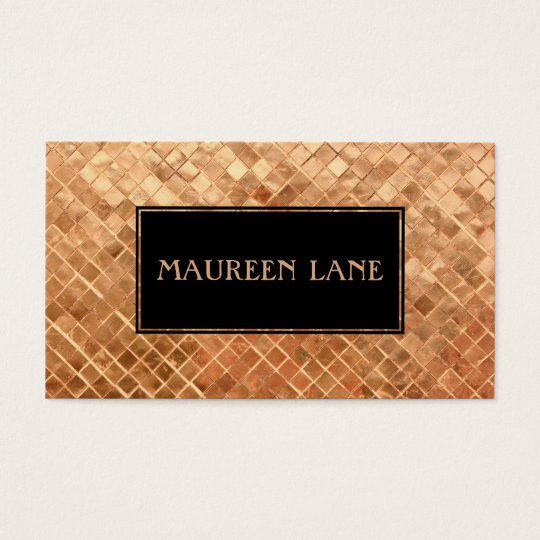 Elegant Rose Gold Metallic Look Tiles Business Card