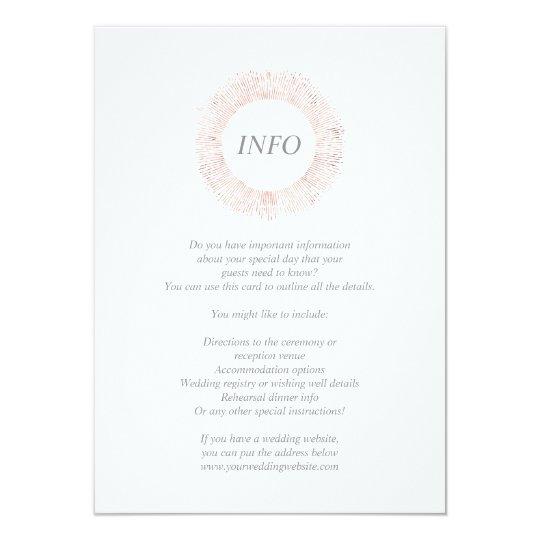 Elegant rose gold monogram info/details card