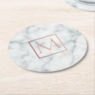 elegant rose gold monogram on white marble stone round paper coaster