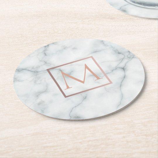 elegant rose gold monogram on white marble stone