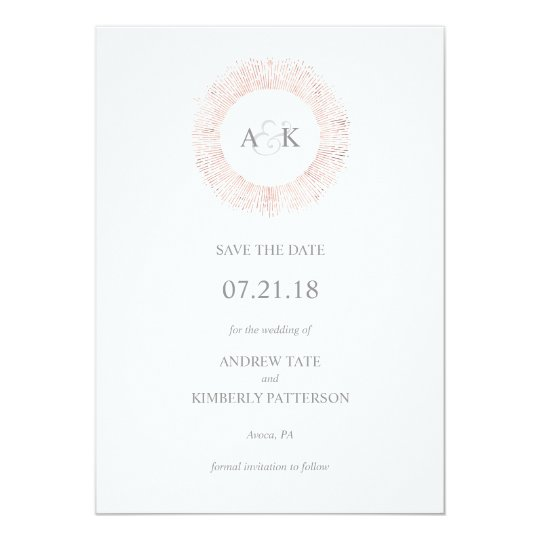 Elegant rose gold monogram save the date card