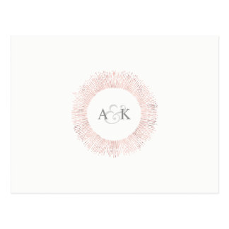 Elegant rose gold monogram save the date postcard
